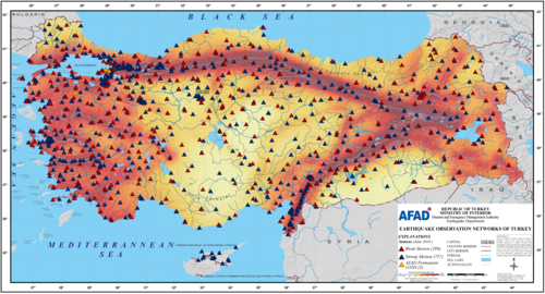 Earthquake Hazard Map of Turkey and Turkey National Seismic Network