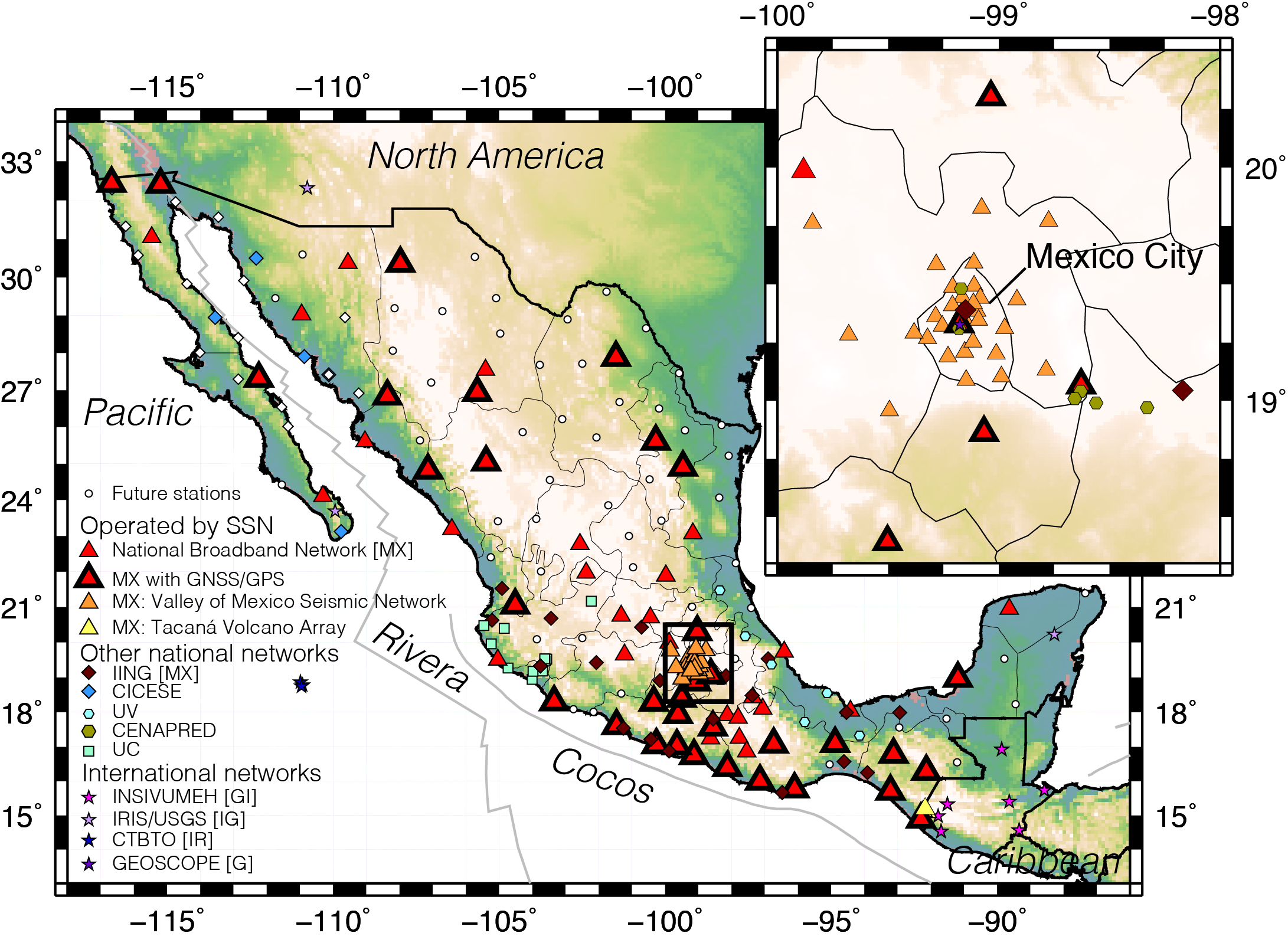 Stations that contribute with data to the location of earthquakes within Mexico.